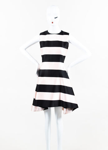 Black and Pink Christian Dior Silk Striped Horseshoe Hem Dress Front 2
