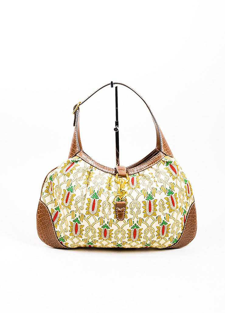 "Cream and Brown Gucci ""Leonardo"" Printed Canvas Leather ""Jackie O"" Shoulder Bag Frontview"