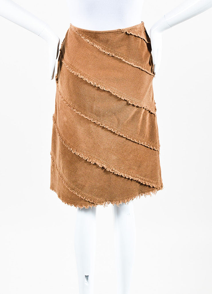Moschino Jeans Brown Corduroy Fringe Trim Skirt Backview