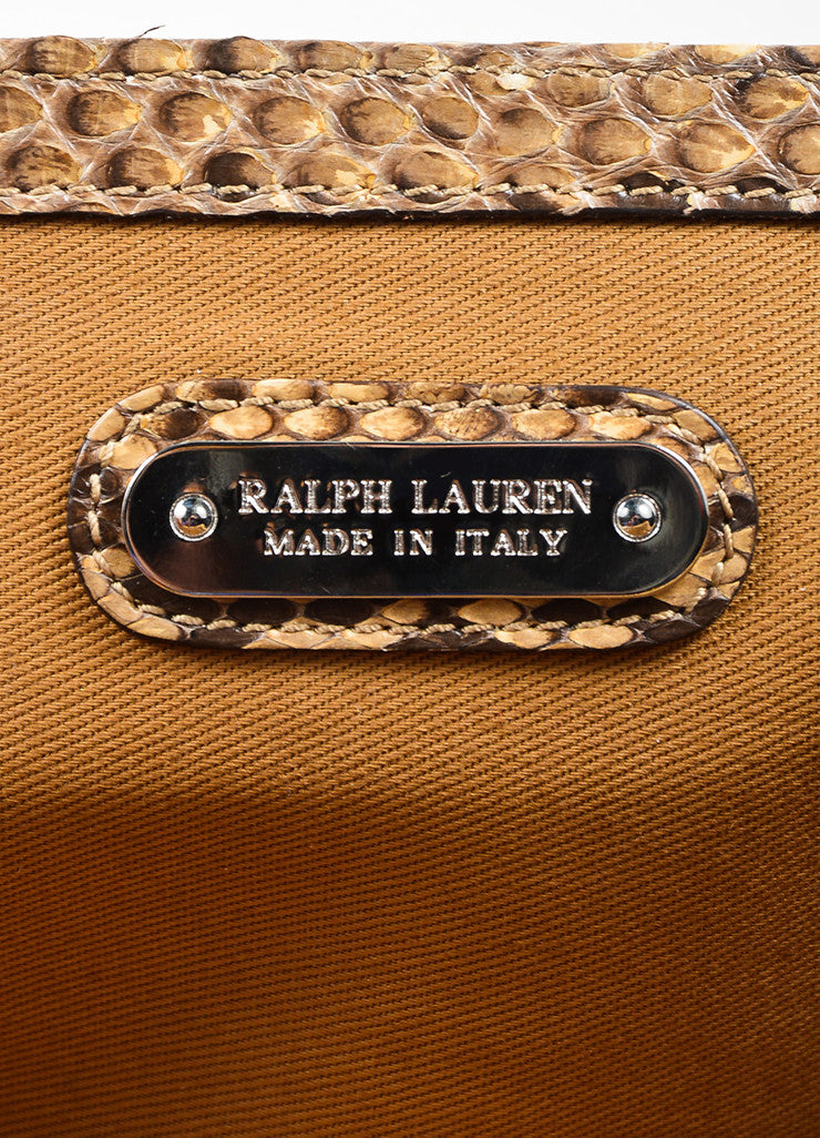 Brown and Cream Ralph Lauren Snakeskin Flap Clutch Bag Brand
