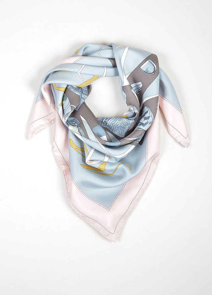 "Grey, Blue and Pink Hermes Silk ""Madame Monsiuer"" Accessory Print Scarf Frontview"
