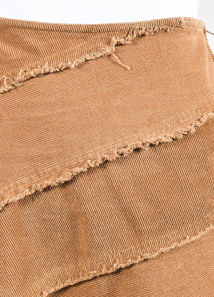 Moschino Jeans Brown Corduroy Fringe Trim Skirt Detail
