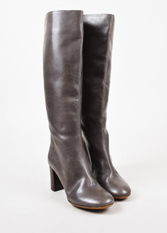 Chloe Grey Leather Knee High Boots Frontview