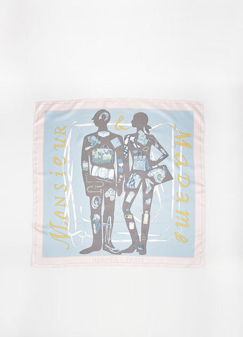 "Grey, Blue and Pink Hermes Silk ""Madame Monsiuer"" Accessory Print Scarf Frontview 2"