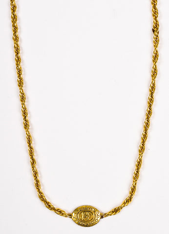 Chanel Gold Toned 'CC' Oval Station Single Strand Chain Necklace Detail