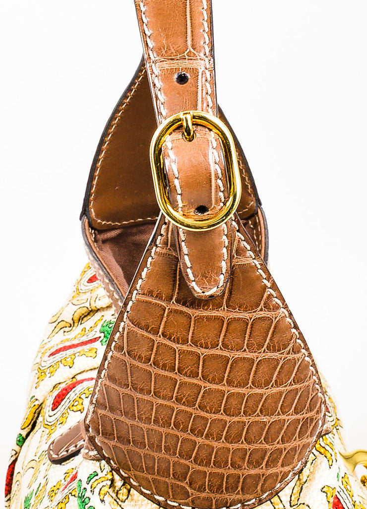 "Cream and Brown Gucci ""Leonardo"" Printed Canvas Leather ""Jackie O"" Shoulder Bag Detail 2"