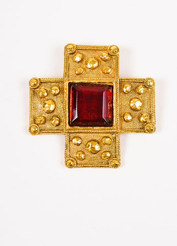 Chanel Gold Toned and Red Gripoix Stone Cross Pin Brooch Frontview