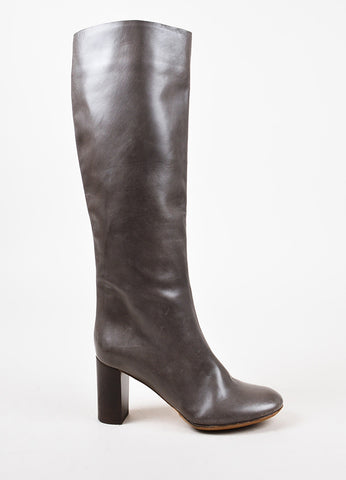 Chloe Grey Leather Knee High Boots Sideview