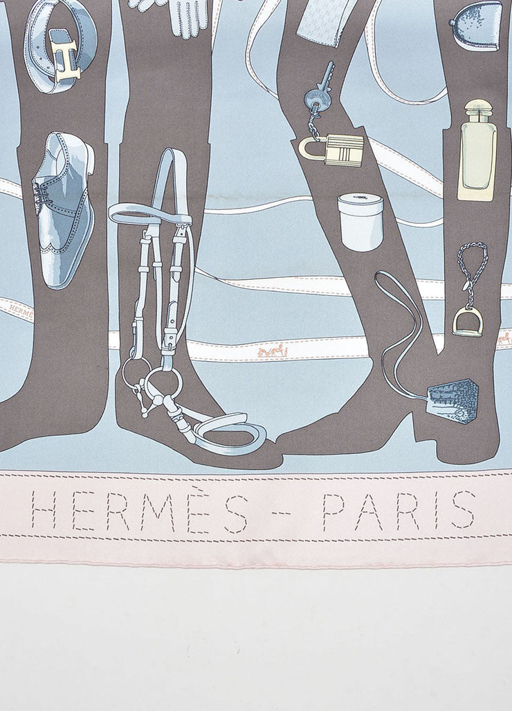 "Grey, Blue and Pink Hermes Silk ""Madame Monsiuer"" Accessory Print Scarf Detail 2"