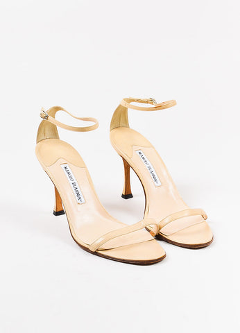 Manolo Blahnik Beige Leather Ankle Strap Sandal Heels