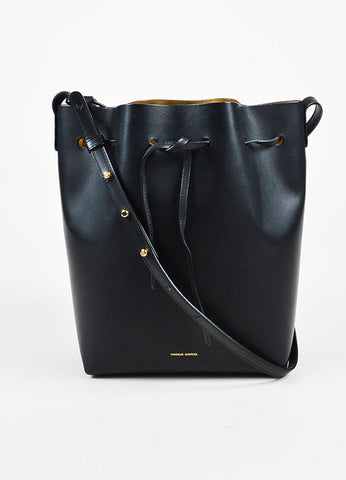 "Mansur Gavriel Black Leather GHW Front Drawstring Tie ""Large Bucket"" Bag Frontview"