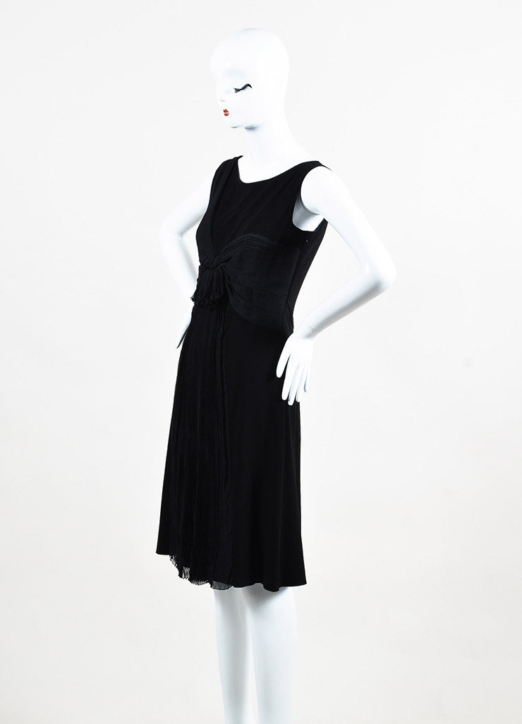 Prada Black Crepe Silk Pleated Draped Sleeveless Shift Dress Sideview
