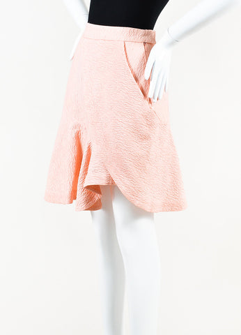 Preen by Thornton Bregazzi Pink Textured Cotton Blend Wrap Skirt Side