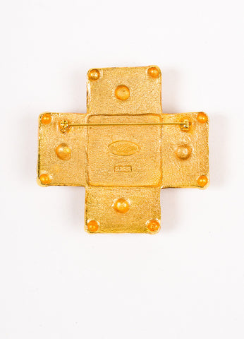 Chanel Gold Toned and Red Gripoix Stone Cross Pin Brooch Backview