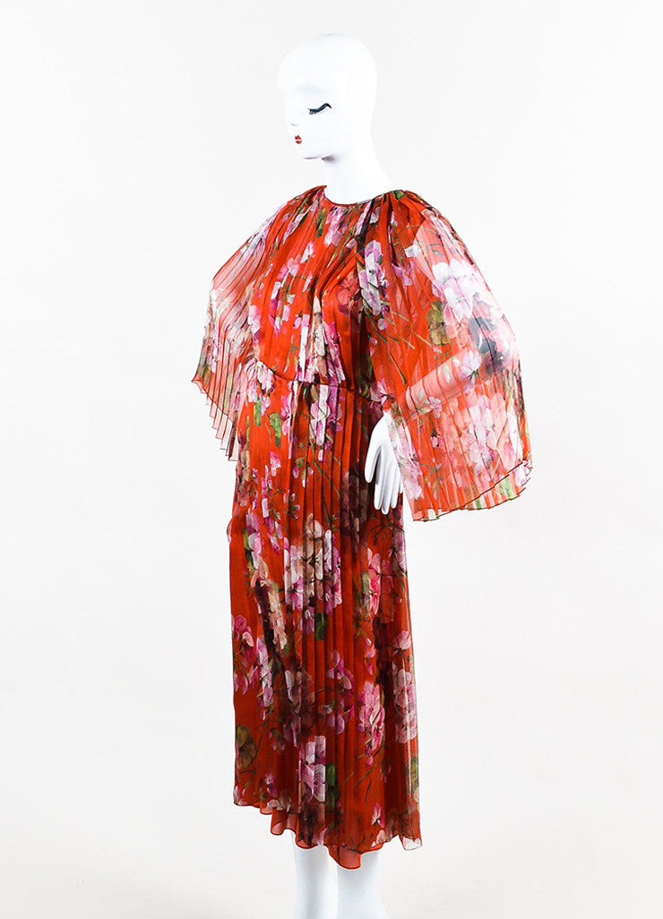 """Raw Sienna"" Red Gucci Silk Georgette Printed Pleated Midi Dress Front"
