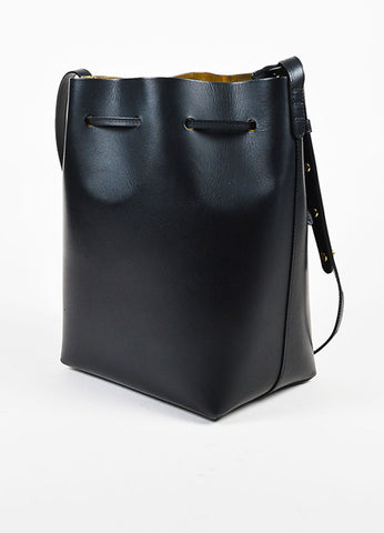 "Mansur Gavriel Black Leather GHW Front Drawstring Tie ""Large Bucket"" Bag Sideview"