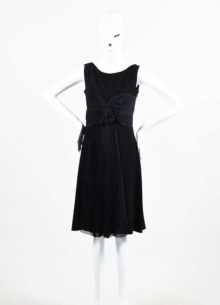 Prada Black Crepe Silk Pleated Draped Sleeveless Shift Dress Frontview