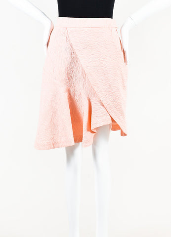 Preen by Thornton Bregazzi Pink Textured Cotton Blend Wrap Skirt Front