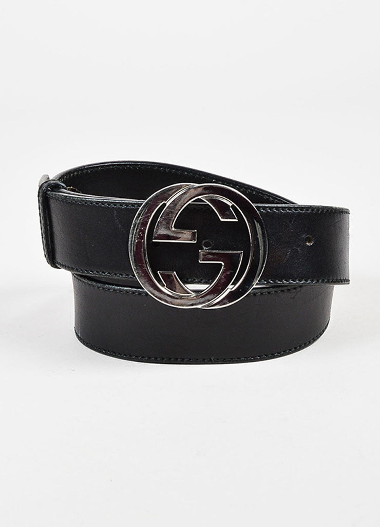 Gucci Black Silver Tone Leather Large Monogram Buckle Belt Front