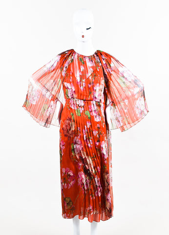 """Raw Sienna"" Red Gucci Silk Georgette Printed Pleated Midi Dress Front 2"