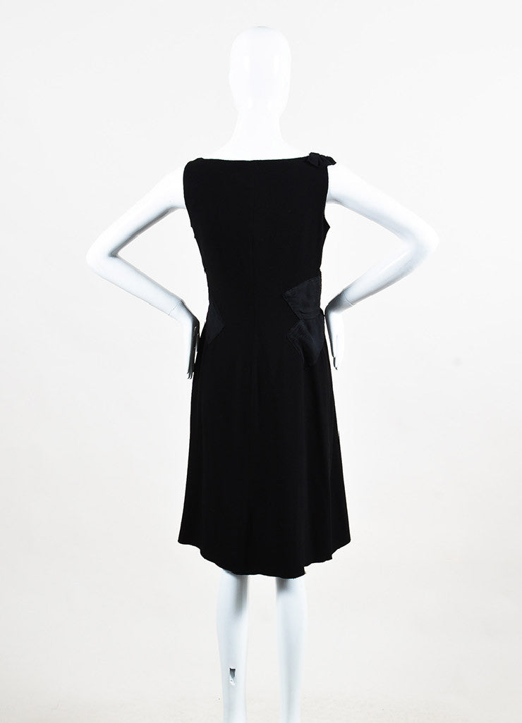 Prada Black Crepe Silk Pleated Draped Sleeveless Shift Dress Backview