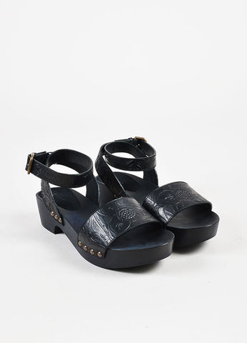 "Tomas Maier Black Leather Embossed Platform ""Monte"" Sandals Frontview"
