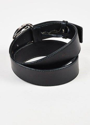 Gucci Black Silver Tone Leather Large Monogram Buckle Belt Back