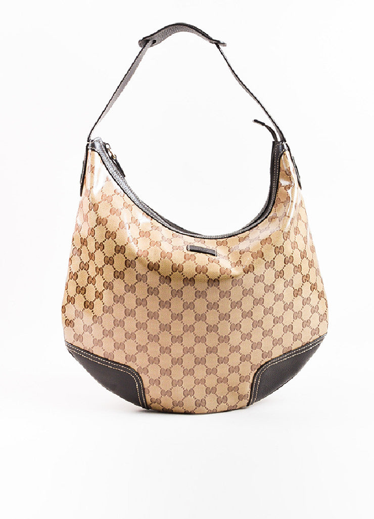 "Gucci Brown and Tan ""Crystal"" Coated Canvas Leather Trim ""Princy"" Hobo Bag Frontview"