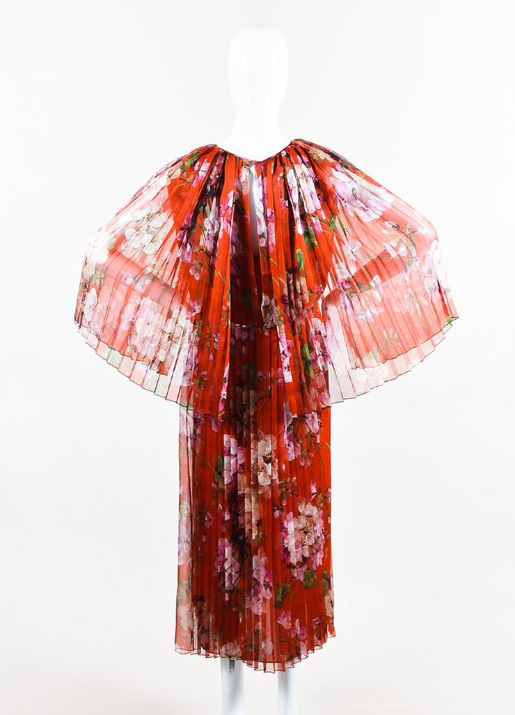 """Raw Sienna"" Red Gucci Silk Georgette Printed Pleated Midi Dress Back"