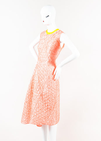 "Roksanda Coral Yellow Quilted Sleeveless ""Tilson"" Dress Side"