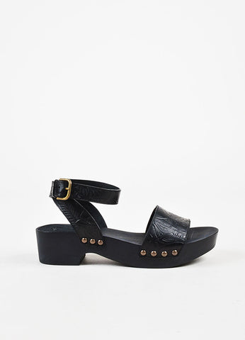 "Tomas Maier Black Leather Embossed Platform ""Monte"" Sandals Sideview"
