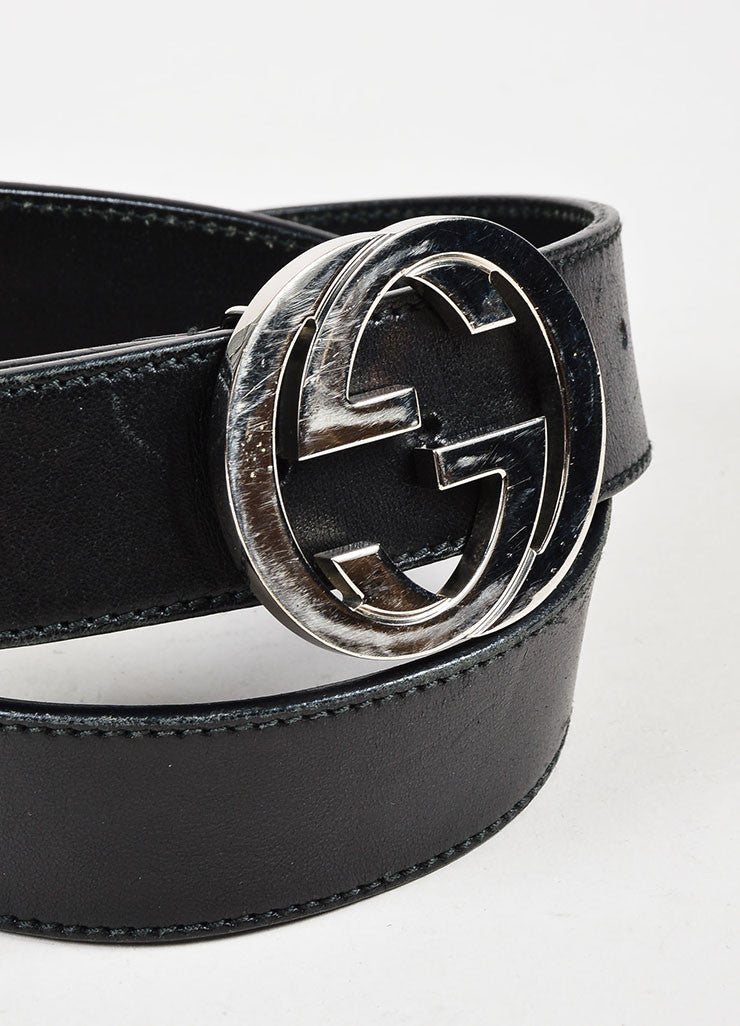 Gucci Black Silver Tone Leather Large Monogram Buckle Belt Detail