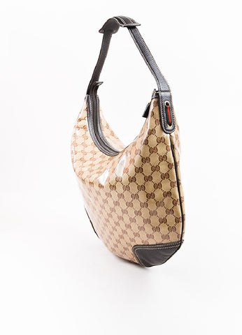 "Gucci Brown and Tan ""Crystal"" Coated Canvas Leather Trim ""Princy"" Hobo Bag Sideview"