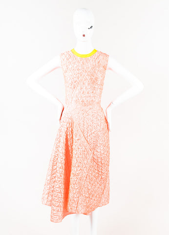 "Roksanda Coral Yellow Quilted Sleeveless ""Tilson"" Dress Front"