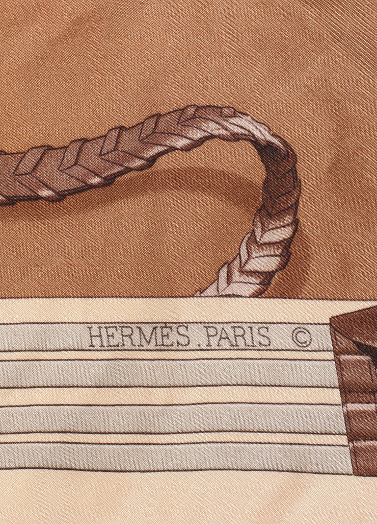 "Hermes Brown and Peach Silk Horse Print ""Jumping"" Scarf Brand"