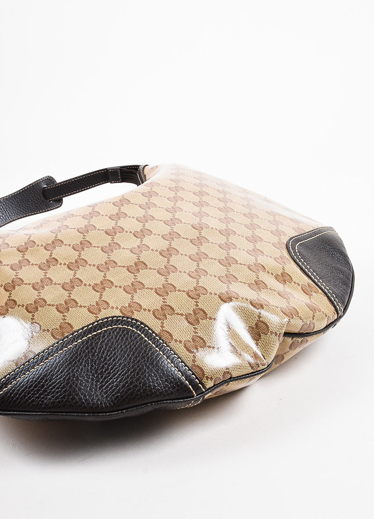 "Gucci Brown and Tan ""Crystal"" Coated Canvas Leather Trim ""Princy"" Hobo Bag Bottom View"