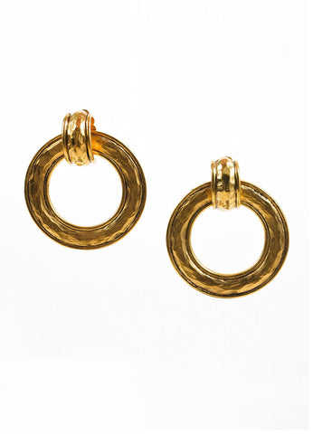 Chanel Gold Toned Hammered Convertible Hoop Earrings Frontview