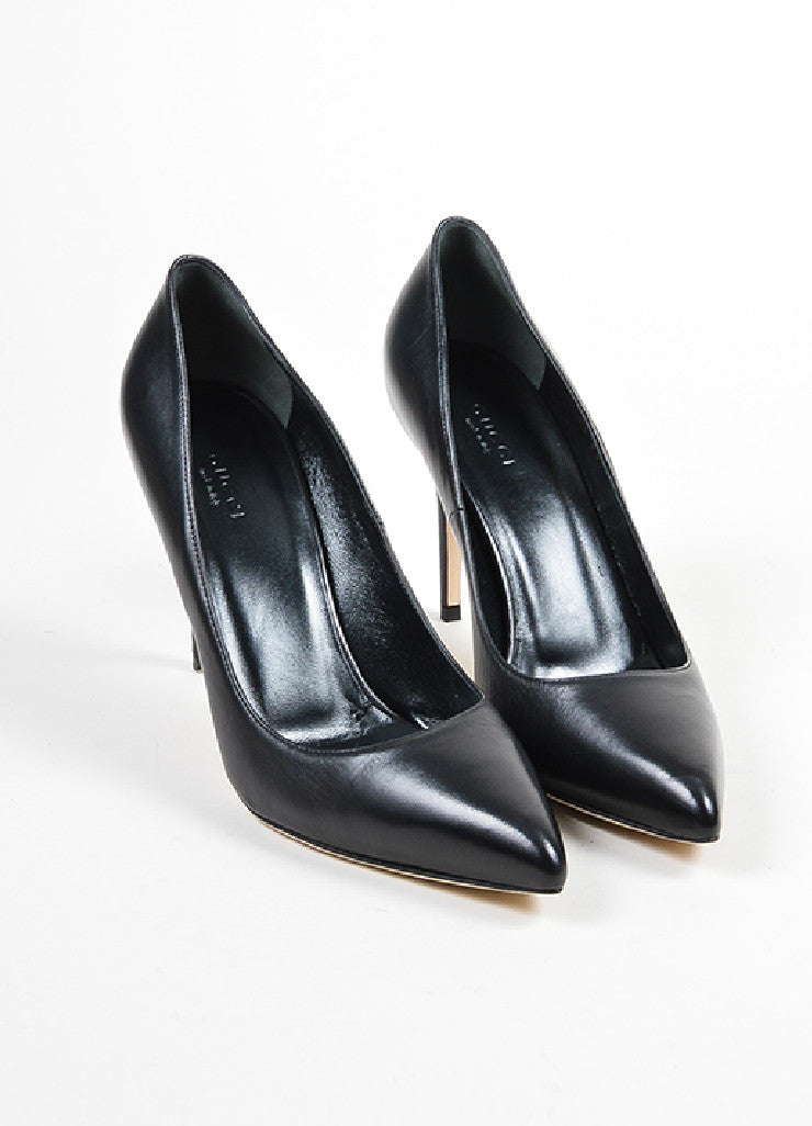"Black Gucci Leather Pointed Toe ""Brooke"" Pumps Front"