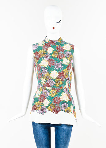 Marni Teal Yellow Multi Floral Peplum Sleeveless Blouse Top Front