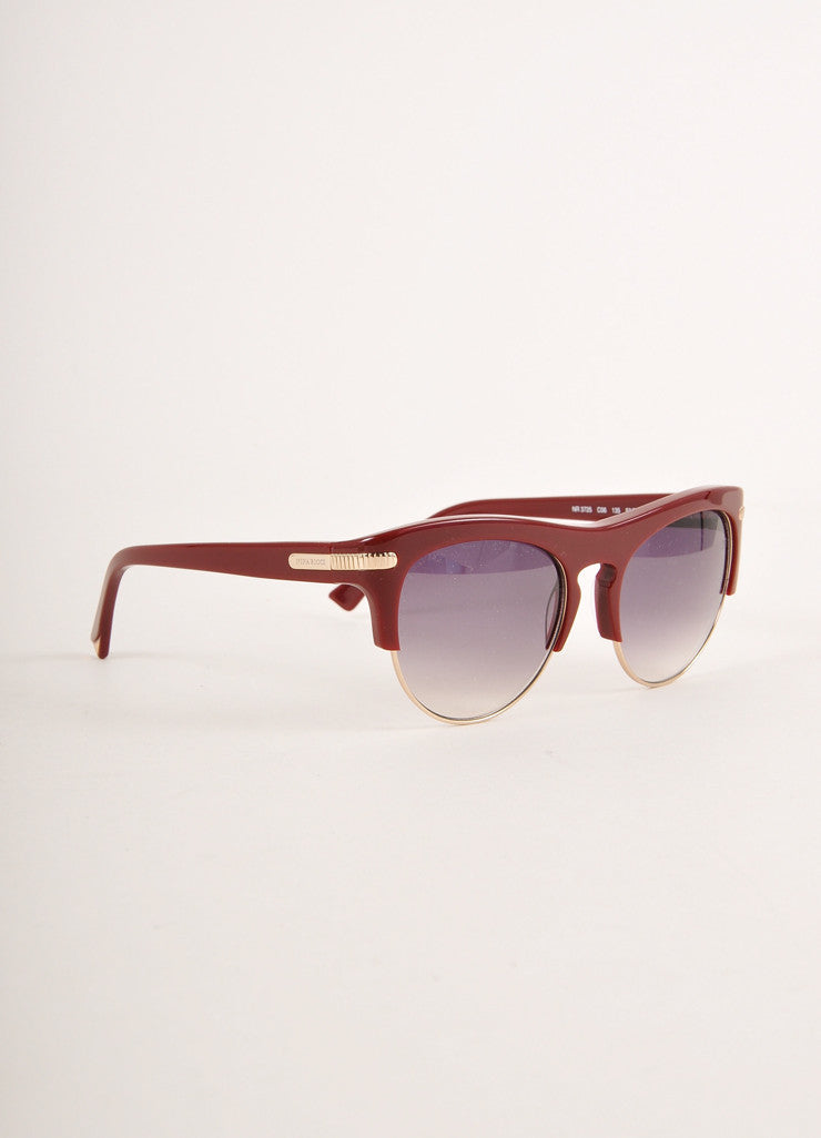"Nina Ricci Dark Red and Gold Toned Cat Eye ""NR 3725"" Clubmaster Sunglasses Sideview"