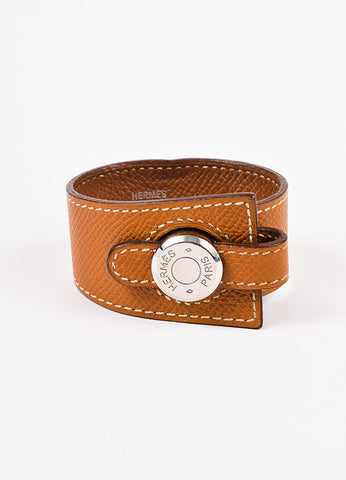 "Hermes Light Brown Leather Stitched ""Clou De Selle"" Bracelet Frontview"