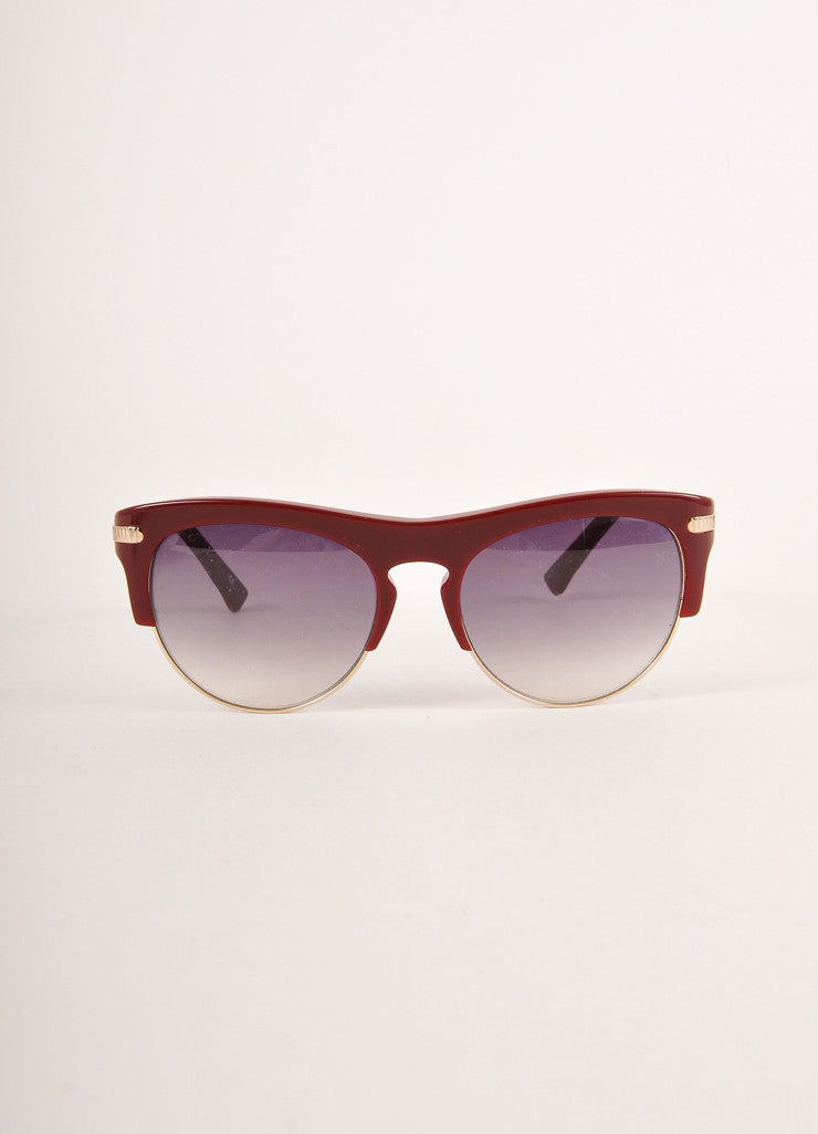 "Nina Ricci Dark Red and Gold Toned Cat Eye ""NR 3725"" Clubmaster Sunglasses Frontview"