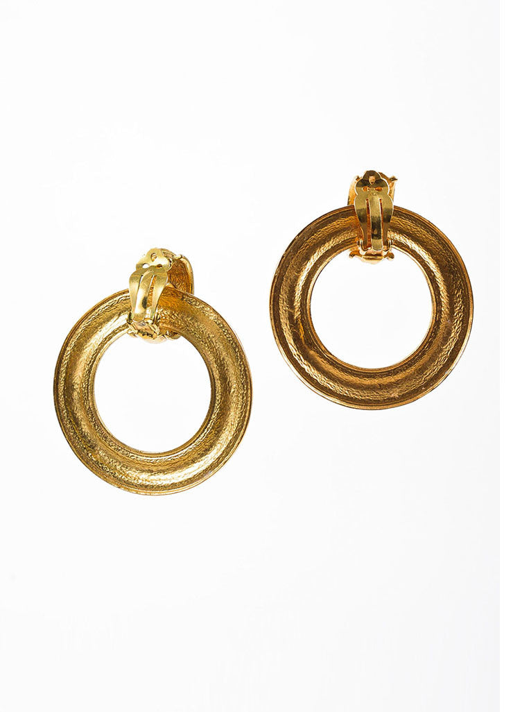 Chanel Gold Toned Hammered Convertible Hoop Earrings Backview