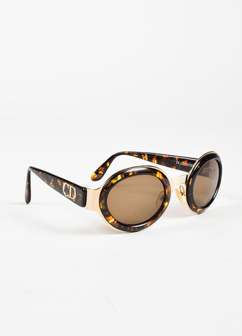 Christian Dior Tortoise Gold Toned Rounded Sunglasses Sideview