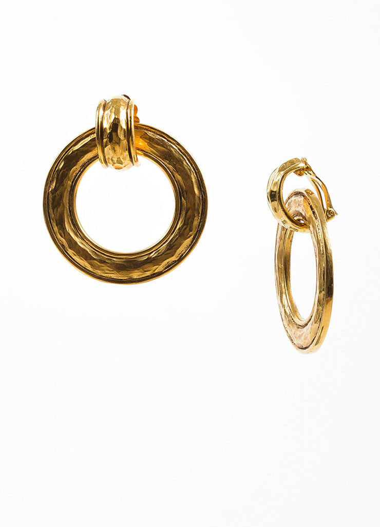 Chanel Gold Toned Hammered Convertible Hoop Earrings Detail