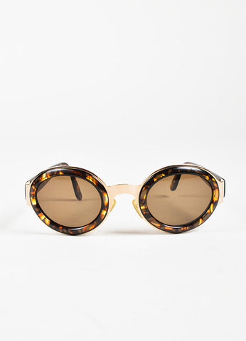 Christian Dior Tortoise Gold Toned Rounded Sunglasses Frontview
