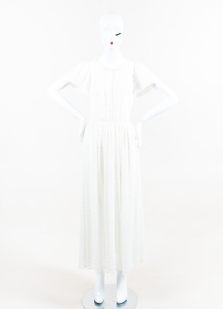 White Saint Laurent Silk Floral Embroidered Flutter Sleeve Dress Front 2