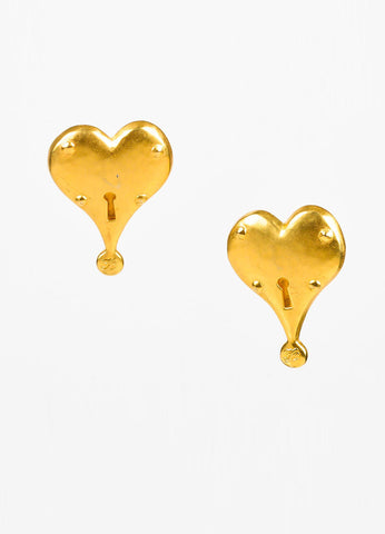 Karl Lagerfeld Matte Gold Toned Heart Clip On Earrings Frontview