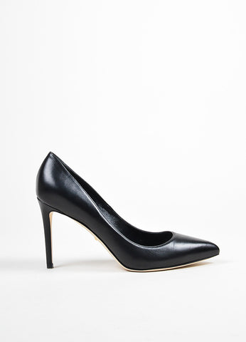 "Black Gucci Leather Pointed Toe ""Brooke"" Pumps Side"