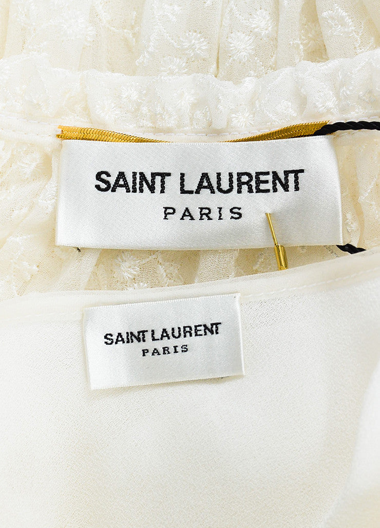 White Saint Laurent Silk Floral Embroidered Flutter Sleeve Dress Brnad